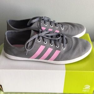 Pink and gray adidas shoes